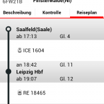 Reiseplan in der DB Ticket App